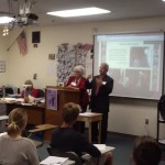 Some of the Lynnwood Baha'is visit students at Anacortes High School